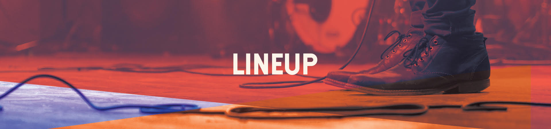Lineup Web Banner, musician's boots with guitar cable and drumset